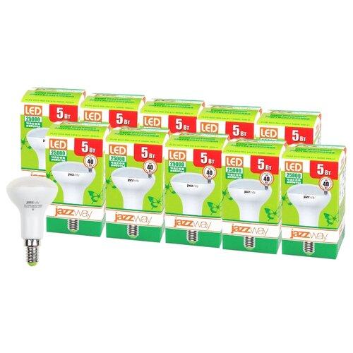 Упаковка светодиодных ламп 10 шт jazzway PLED-ECO 3000K, E14, R50, 5Вт комплект из 3 ламп светодиодных диммируемых с пультом ду p45 rgbw e14 45вт 3000k 10683