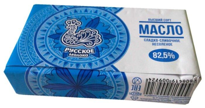 Русское молоко Масло сладко-сливочное несоленое 82.5%, 175 г