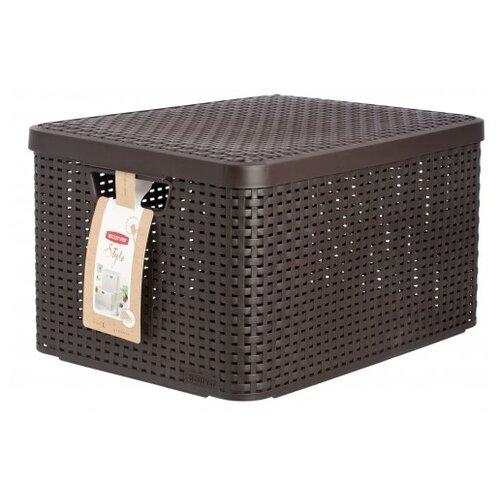 CURVER Корзина с крышкой Rattan Style Box L 24x44x33см темно-коричневыйКорзины, коробки и контейнеры<br>
