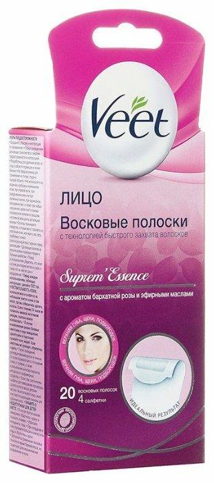 Veet Восковые полоски Suprem'Essence с ароматом бархатной розы и эфирными маслами для лица