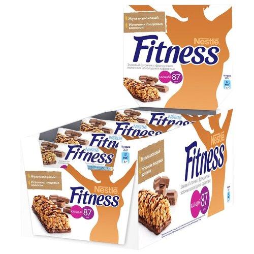 Злаковый батончик Nestle Fitness Французский молочный шоколад и карамель, 24 шт