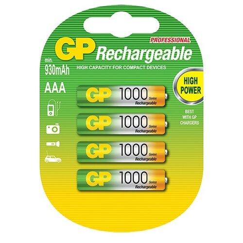 Аккумулятор Ni-Mh 950 мА·ч GP Rechargeable 1000 Series AAA 4 шт блистерБатарейки и аккумуляторы<br>