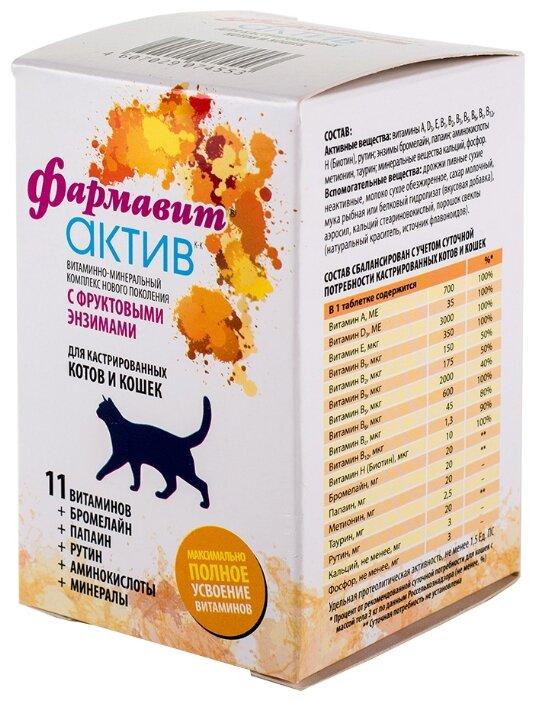 Витамины Фармавит Актив для кастрированных котов и кошек