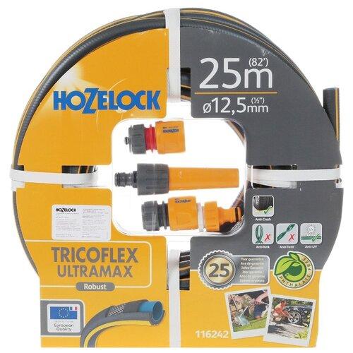 Комплект для полива HOZELOCK стартовый набор Tricoflex Ultramax 1/2 25 метров серый шланг hozelock 116242 tricoflex ultramax 1 2 25m