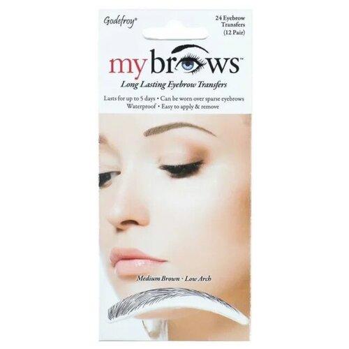 Godefroy Флеш-тату Брови низкая арка Long Lasting Eyebrow Transfers, 12 пар medium brownКраска для бровей и ресниц<br>