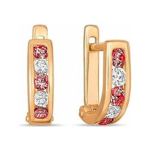 ЛУКАС Серьги с 10 фианитами из красного золота E01-C-59501-ZS