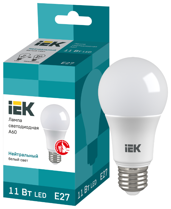 Лампа светодиодная ECO A60 шар 11Вт 230В 4000К E27 IEK (LLE-A60-11-230-40-E27)