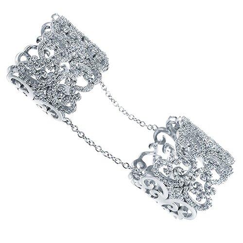 ELEMENT47 Кольцо фаланговое из серебра 925 пробы с кубическим цирконием DM0739R_001_WG, размер 14