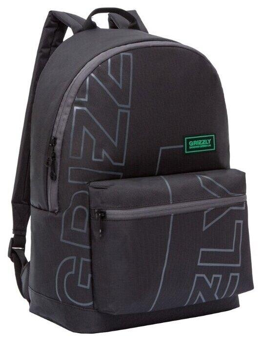 Купить Рюкзак городской Grizzly мужской 20л, с потайным карманом на спинке, черный по низкой цене с доставкой из Яндекс.Маркета (бывший Беру)