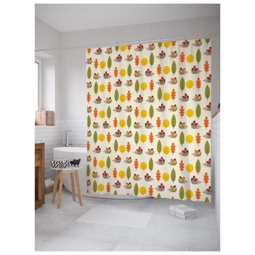 Штора для ванной JoyArty Ежики за работой 180х200 (sc-56459) разноцветный