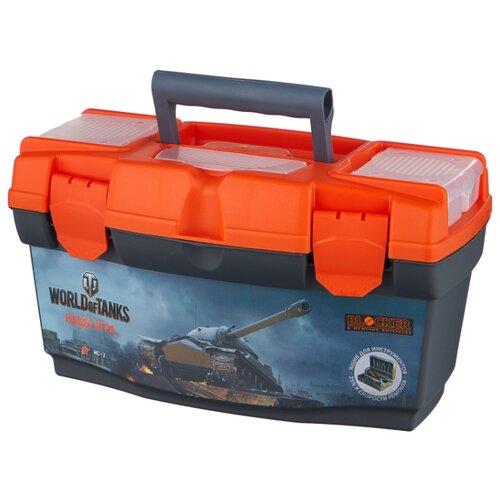 Ящик с органайзером BLOCKER World of Tanks BR5013 40.5x21.5x23 см 16'' серо-свинцовый/оранжевый ящик для инструментов blocker world of tanks br5016срсвцор 51 х 26 х 22 см