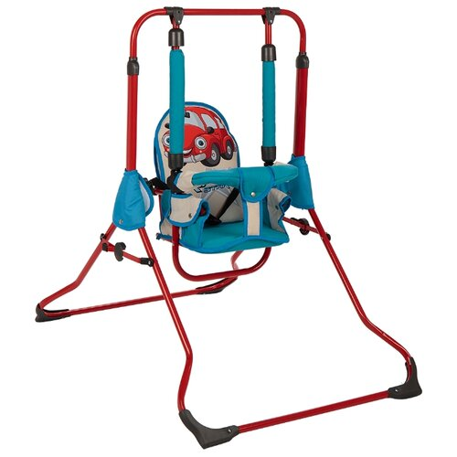 Gusio Качели детские машинка голубая, красная опора
