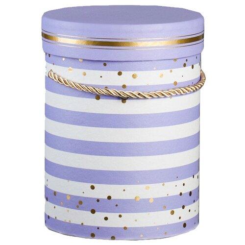 Коробка подарочная Yiwu Youda Import and Export для цветов круглая 14 х 18.5 см фиолетовый