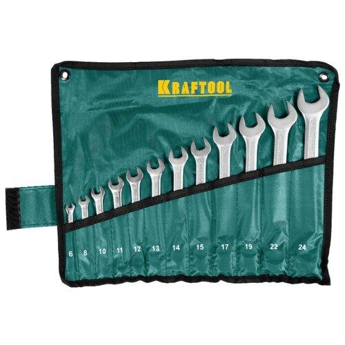 Набор гаечных ключей Kraftool (12 предм.) 27079-H12 зеленый/серебристый набор гаечных ключей зубр 12 предм 27011 h12 серебристый