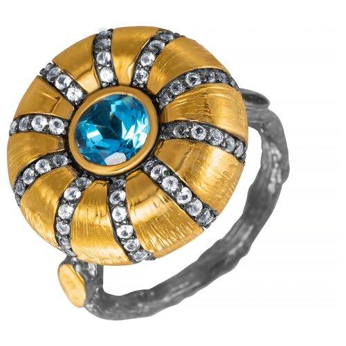ELEMENT47 Кольцо из серебра 925 пробы с топазами YR0195_KO_BT_BJ, размер 17