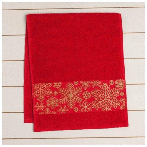 Collorista полотенце Снежинки для рук 30х70 см красный