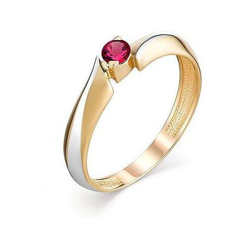 АЛЬКОР Кольцо с 1 рубином из красного золота 13098-103, размер 16.5