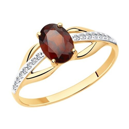 Diamant Кольцо из золота с гранатом и фианитами 51-310-00256-2, размер 18 diamant кольцо из золота с хризолитом и фианитами 51 310 00256 3 размер 18