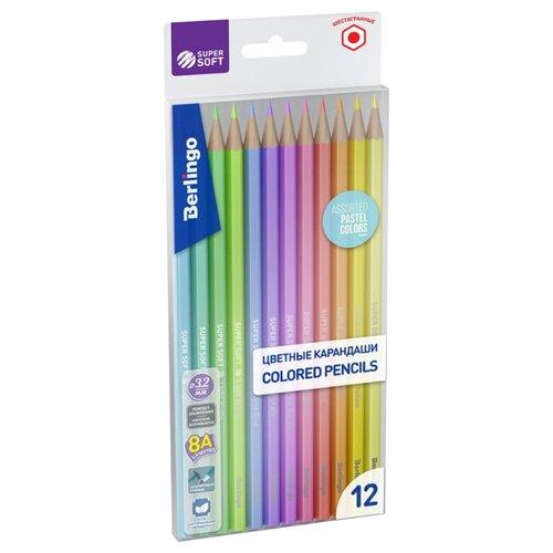 Купить Berlingo Карандаши цветные SuperSoft. Pastel, 12 цветов (SSP0112), Цветные карандаши