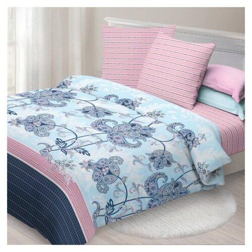 цена на Постельное белье семейное Спал Спалыч Сказка, бязь голубой/розовый