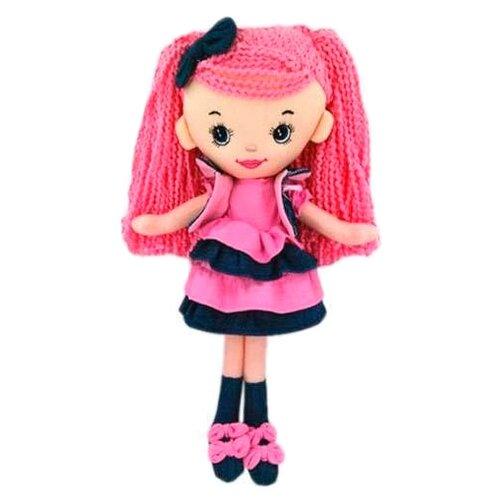 Мягкая игрушка ABtoys Кукла джинсовая в розовом платье 25 см
