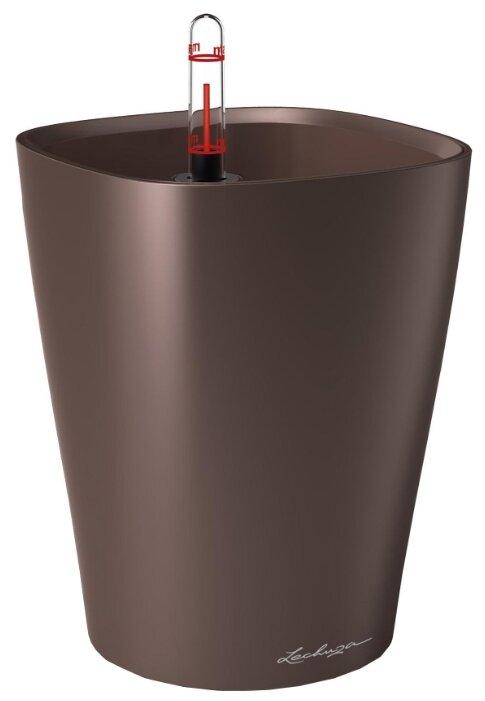 Кашпо LECHUZA DELTINI настольное с автополивом с субстратом в комплекте 15х15х19 см кофе