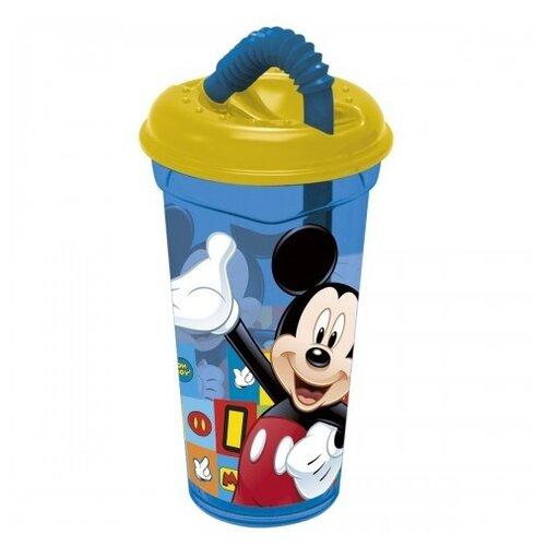 Stor Стакан пластиковый с соломинкой и крышкой прозрачный 400 мл Микки Маус символы недорого
