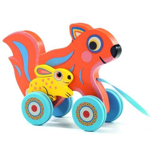 Купить Каталка-игрушка DJECO Заяц Бадабум (06222) оранжевый/желтый/голубой, Каталки и качалки