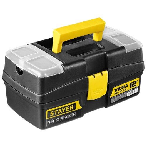 Ящик с органайзером STAYER Vega 38105-13_z03 29x17x14 см 12'' черный/желтый ящик с органайзером stanley jumbo 1 92 908 31 4x56 2x30 см желтый черный