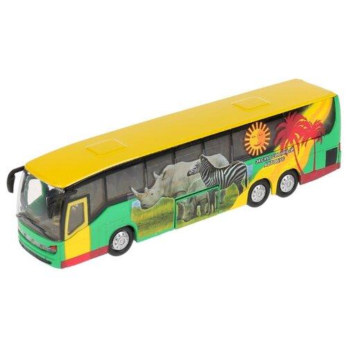 Купить Автобус ТЕХНОПАРК экскурсионный (CT10-025-1) 1:43 16 см желтый/зеленый, Машинки и техника
