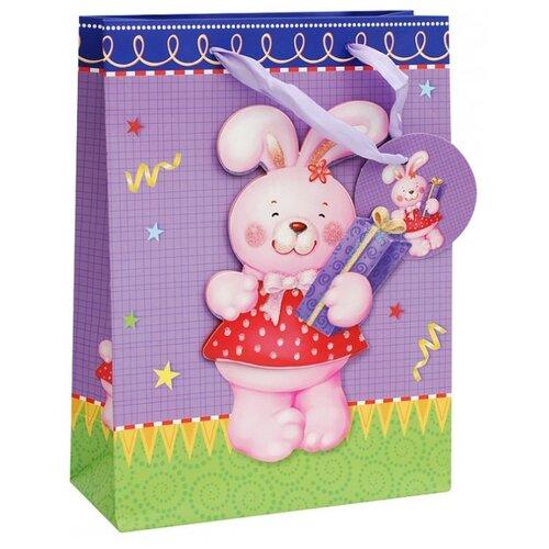 Пакет подарочный Белоснежка Розовый зайка 18x24x8 см фиолетовый/зеленый/розовый