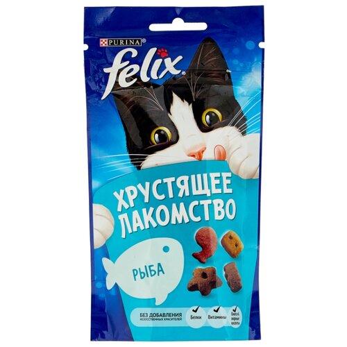 Лакомство для кошек Felix Хрустящее лакомство со вкусом рыбы, 60г felix лакомство для кошек felix рыба