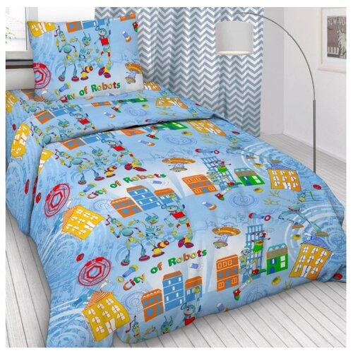 Постельное белье 1.5-спальное Letto Робогород голубой 50х70 бязьКомплекты<br>