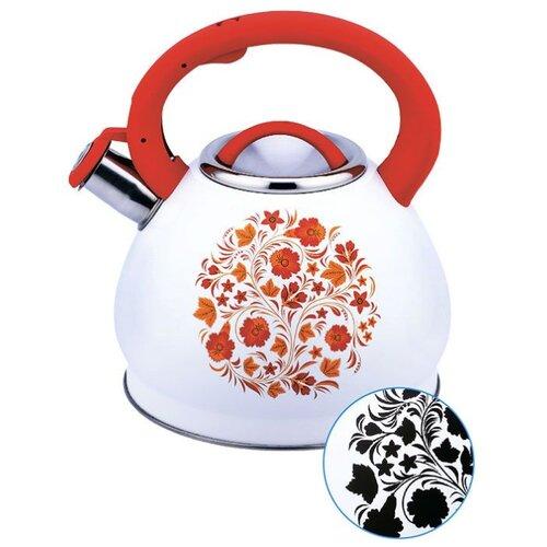 Забава Чайник со свистком Хохлома 3 л белый/красный чайник agness горошек со свистком 937 801 белый 3 л