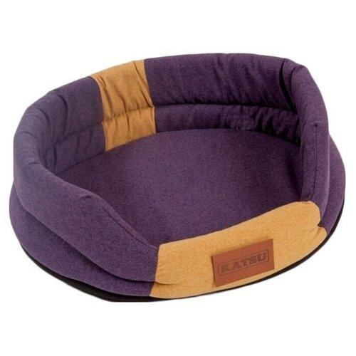 Лежак для собак и кошек Katsu Animal L 79х65х25 см фиолетовый/песочный