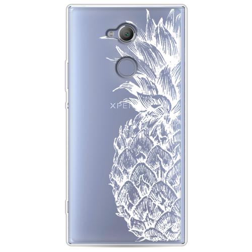Силиконовый чехол Ананас графика белая на Sony Xperia XA2 Ultra