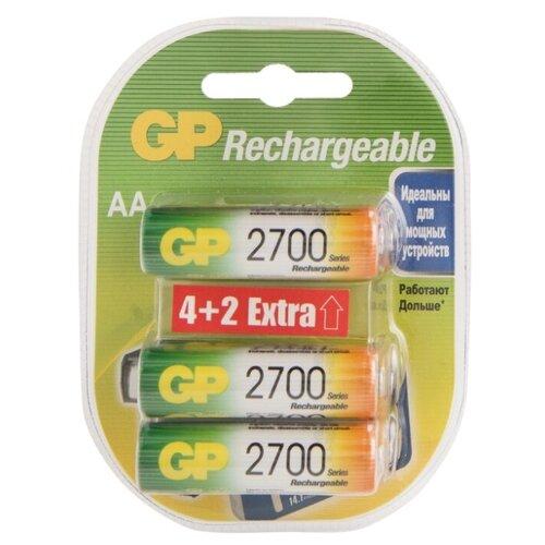 Аккумулятор Ni-Mh 2700 мА·ч GP Rechargeable 2700 Series AA, 6 шт. аккумулятор ni mh 1300 ма·ч gp rechargeable 1300 series aa 2 шт
