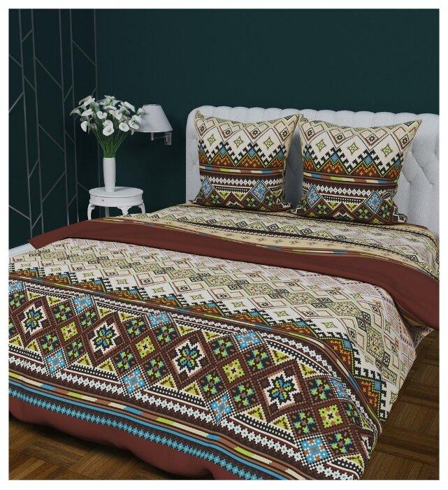 Постельное белье 2-спальное с евро простыней Текстильная лавка Жаккард 70 x 70 бязь коричневый