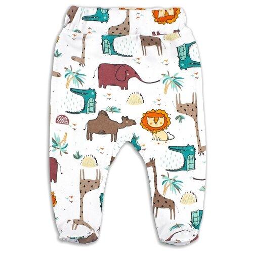 Ползунки Веселый Малыш размер 74, белый/зеленый/светло-коричневый пижама веселый малыш размер 74 зеленый