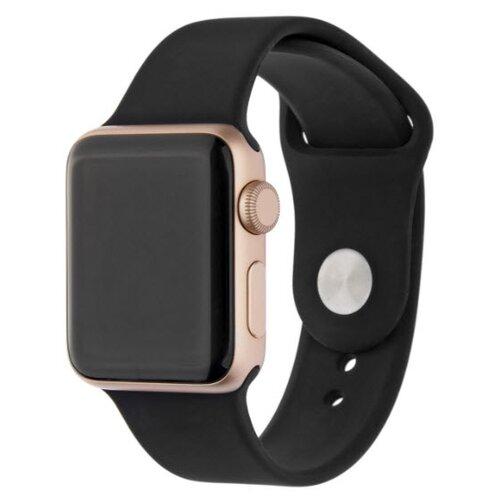 ремешок sport band для смарт часов apple watch 38 40 мм черный с белым INTERSTEP Ремешок SPORT для Apple Watch 38/40 мм, силикон черный