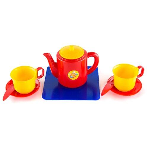 Набор посуды Пластмастер Набор чашек с чайником 21002 разноцветный