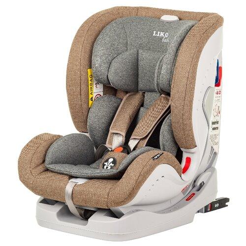 Купить Автокресло группа 0/1/2/3 (до 36 кг) Liko Baby Sprinter Isofix, коричневый/лен, Автокресла