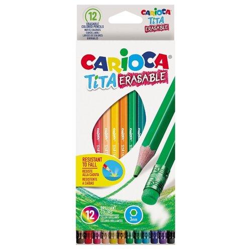 Купить Carioca набор цветных карандашей Tita Erasable 12 цветов (42897), Цветные карандаши