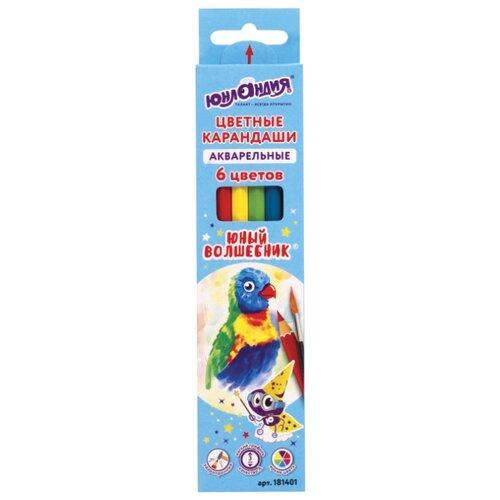Купить Юнландия Карандаши цветные Юный волшебник, 6 цветов (181401), Цветные карандаши