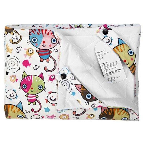 Купить Плед МиМиМи Котики 70х105 см белый с рисунком, Покрывала, подушки, одеяла