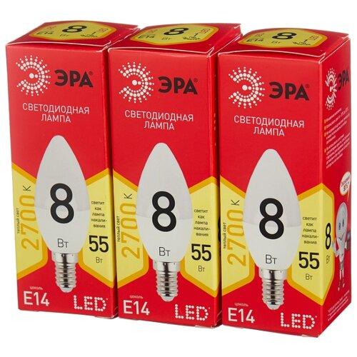Упаковка светодиодных ламп 3 шт ЭРА Б0030018, E14, B35, 8Вт