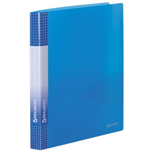 Купить BRAUBERG Папка на 2 кольцах с карманом Диагональ А4, 25 мм тонированнная синяя, Файлы и папки