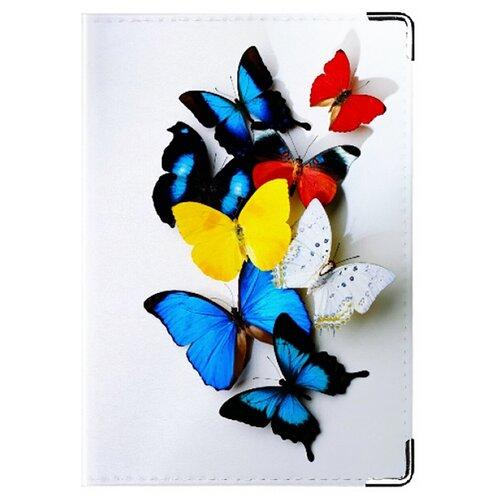 Обложка для паспорта MADAPRINT Райские бабочки 100% натуральная овечья кожа