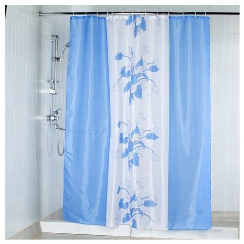 Штора для ванной Aquarius Цветы 180х200 голубой штора для ванной joyarty глаз в цветочном узоре 180х200 sc 19372
