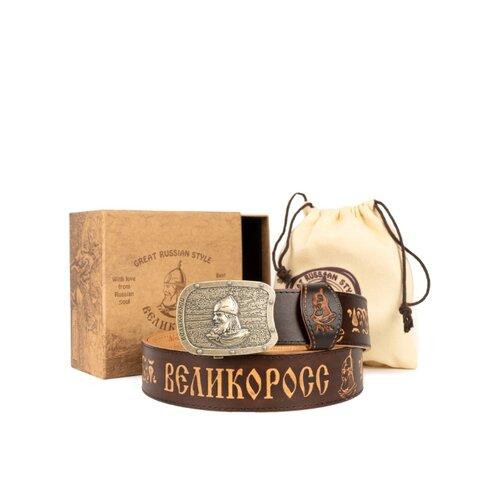 Кожанный ремень в подарочной упаковке Великоросс. «Мурманский» на бляхе автомат. Воловья кожа, мельхиоровый сплав. 120 см.